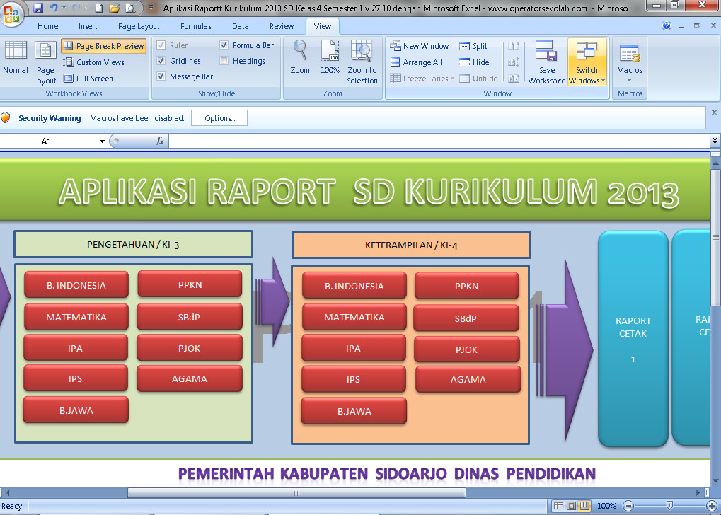 Download Aplikasi Raport Kurikulum 2013 SD Kelas 4 Semester 1 V.27.10 Berbasis Ms. Excel Terbaru (New Update)
