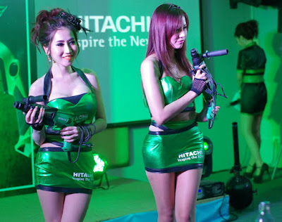 Female Models with Hand on Hitachi Job Site Power Tools in Buriram