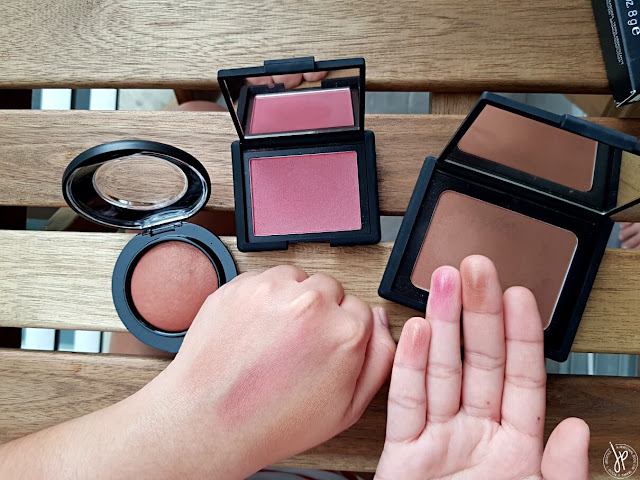 blush and bronzer swatches