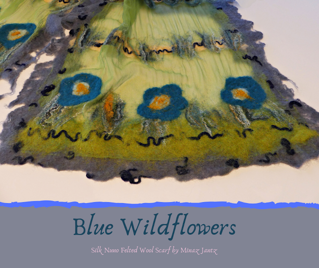 Fringe and design detail of Blue Wildflowers silk scarf.