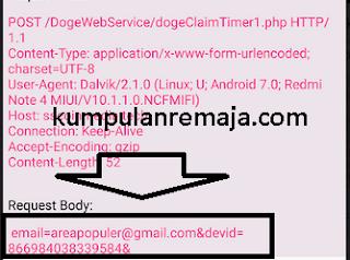 mencari email dan id device