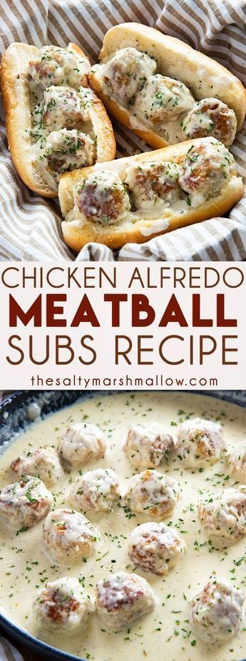 Chicken Alfredo Meatball Subs