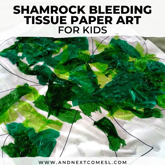 Easy shamrock craft for toddlers and preschoolers using the bleeding tissue paper art technique