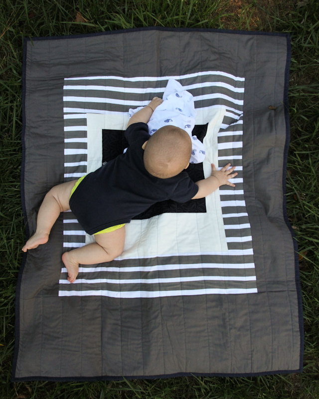 modern minimal Courthouse Baby Quilt in grey and navy | Lovely and Enough
