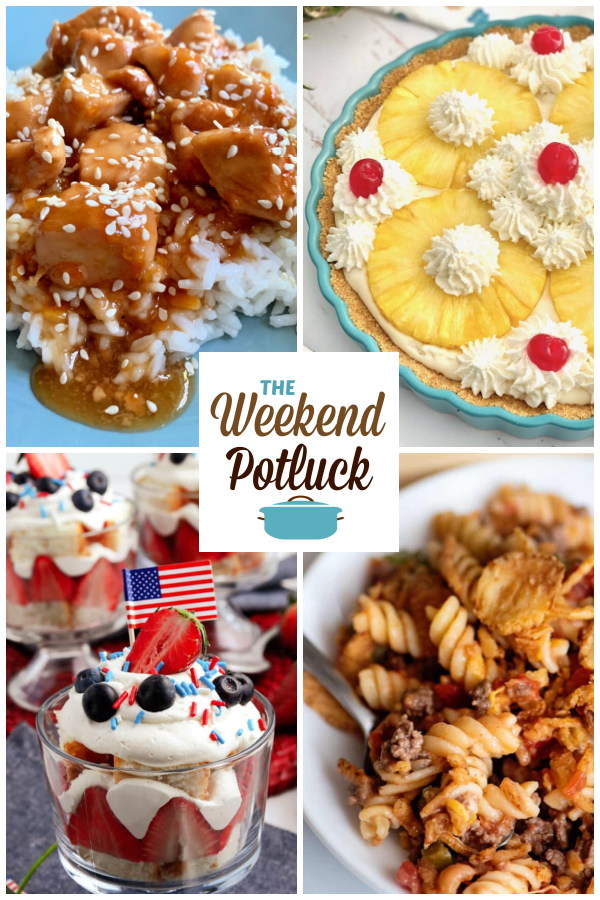 A virtual recipe swap with Easy Slow Cooker Orange Chicken, No-Bake Pineapple Pie, Red White & Blue Trifle, Crunchy Beef Casserole and dozens more!