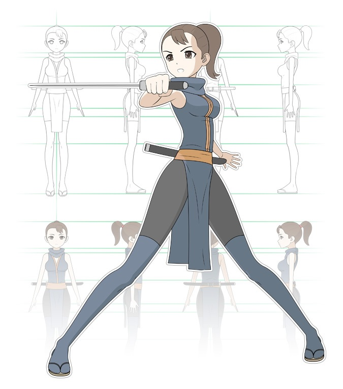 Desain karakter gadis anime ninja