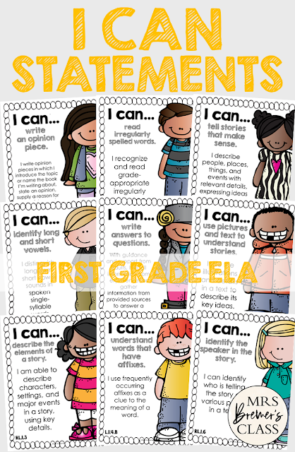 I Can Statements Common Core Posters for First Grade ELA, featuring Melonheadz Kidlettes. Display in the classroom on a focus board or objective board for student reference and learning. An educational display for use in First Grade. Hang as you teach a new learning standard. No prep- just print and go!