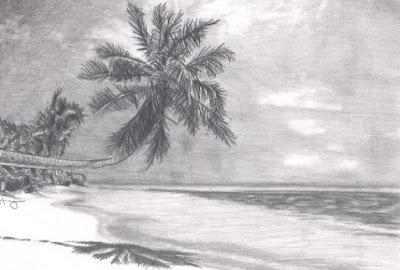 Gambar pemandangan dengan pensil