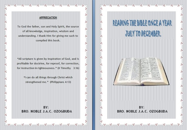 READING THE BIBLE ONE A YEAR - JULY TO DECEMBER