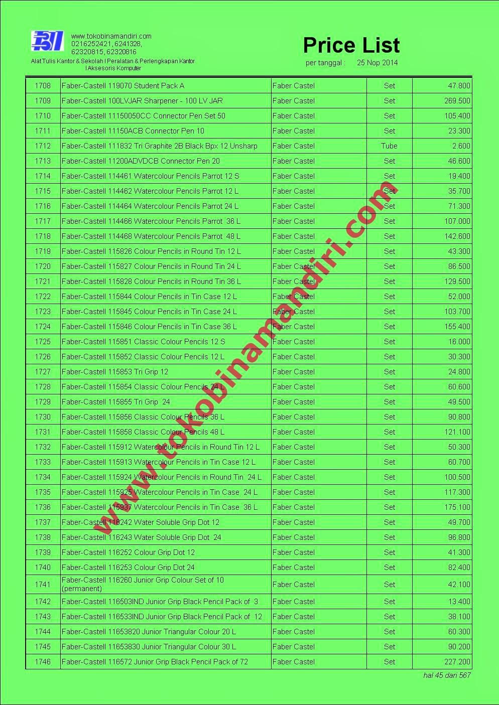 Price List peralatan sekolah anak