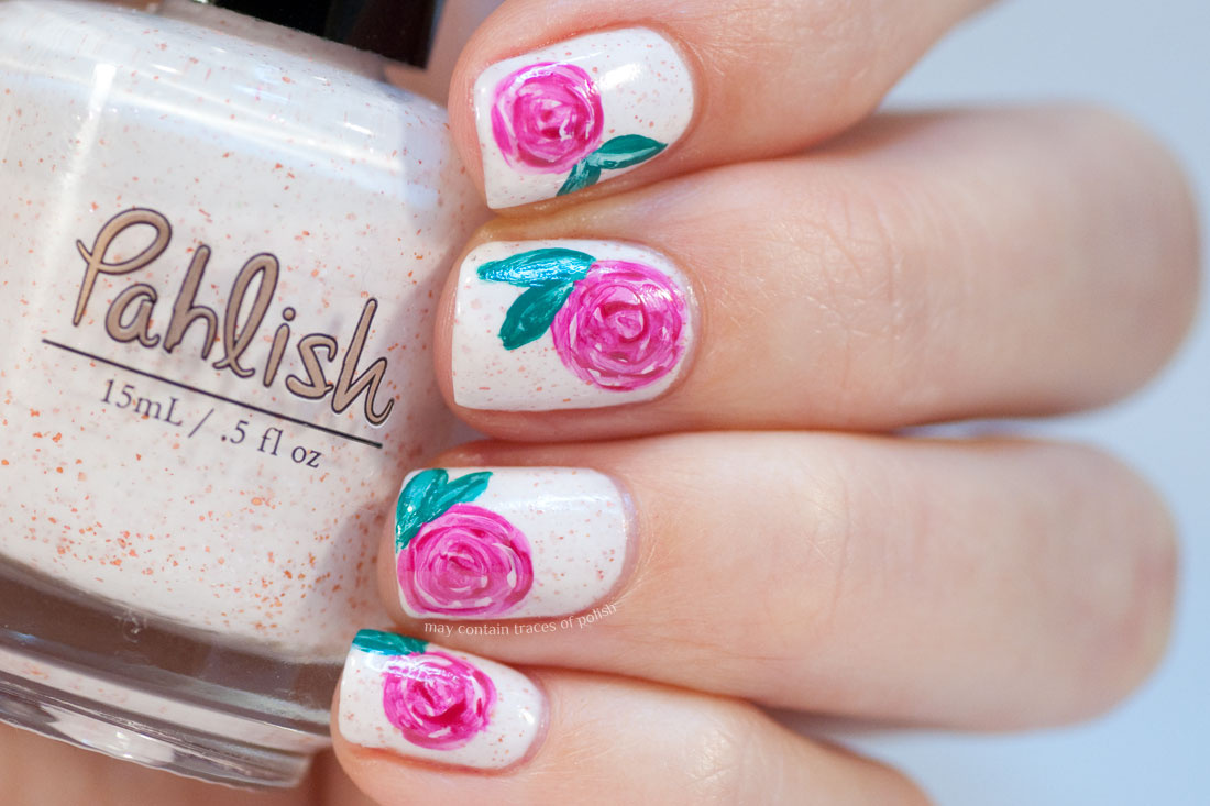 Mega roses nail art may contain traces of polish my base is the same of course pahlish fleur de sel and the roses are painted with acrylic paint not much more to write tonight have an early start prinsesfo Choice Image