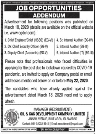 Oil & Gas Development Islamabad Jobs
