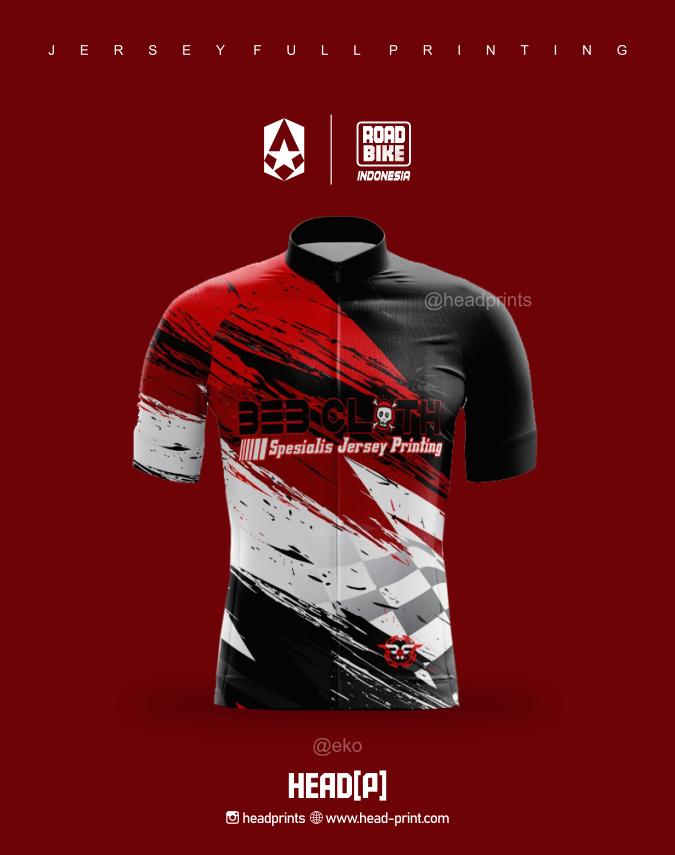 Road Bike Red 2345 Indonesia Jersey Full Printing - Vendor Jersey Jogja 1