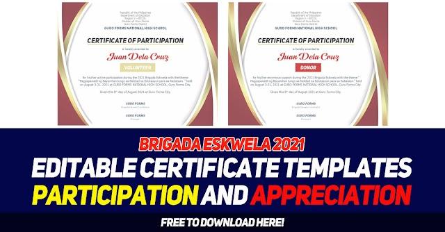 Brigada Eskwela 2021 - Editable Certificate Templates ( Participation & Appreciation ) Free to download