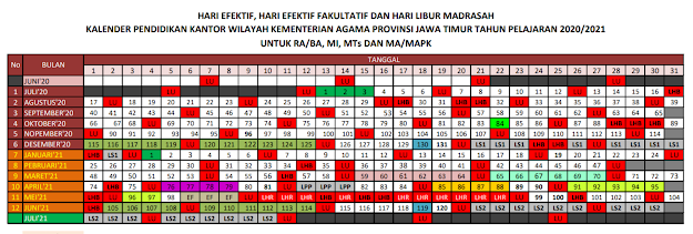 Download Kalender Pendidikan Madrasah Tahun Pelajaran 2020/2021 Jawa Timur