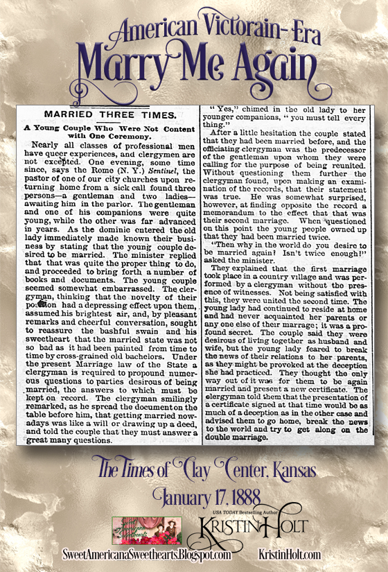 Kristin Holt | American Victorian-Era: Marry Me Again. Clipping MARRIED THREE TIMES from The Times of Clay Center, Kansas on January 17, 1888.