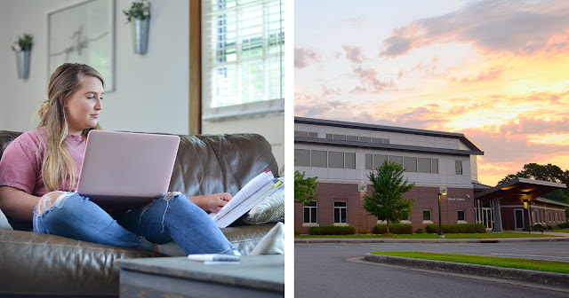 Photo of a woman at a residence on a laptop next to a seperate photo of the Library Complex building