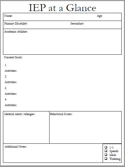 iep at a glance template - Boat.jeremyeaton.co