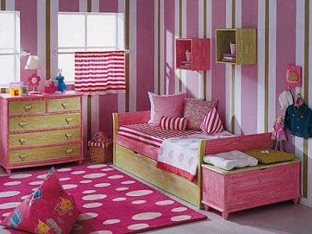 Cuarto de niña rosa verde