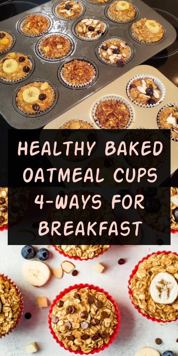 Keep these baked oatmeal cups in your fridge or freezer for an easy, healthy breakfast! There's four different flavor options so you'll never get bored. Vegan + gluten-free. #healthybreakfast #breakfast #oatmeal
