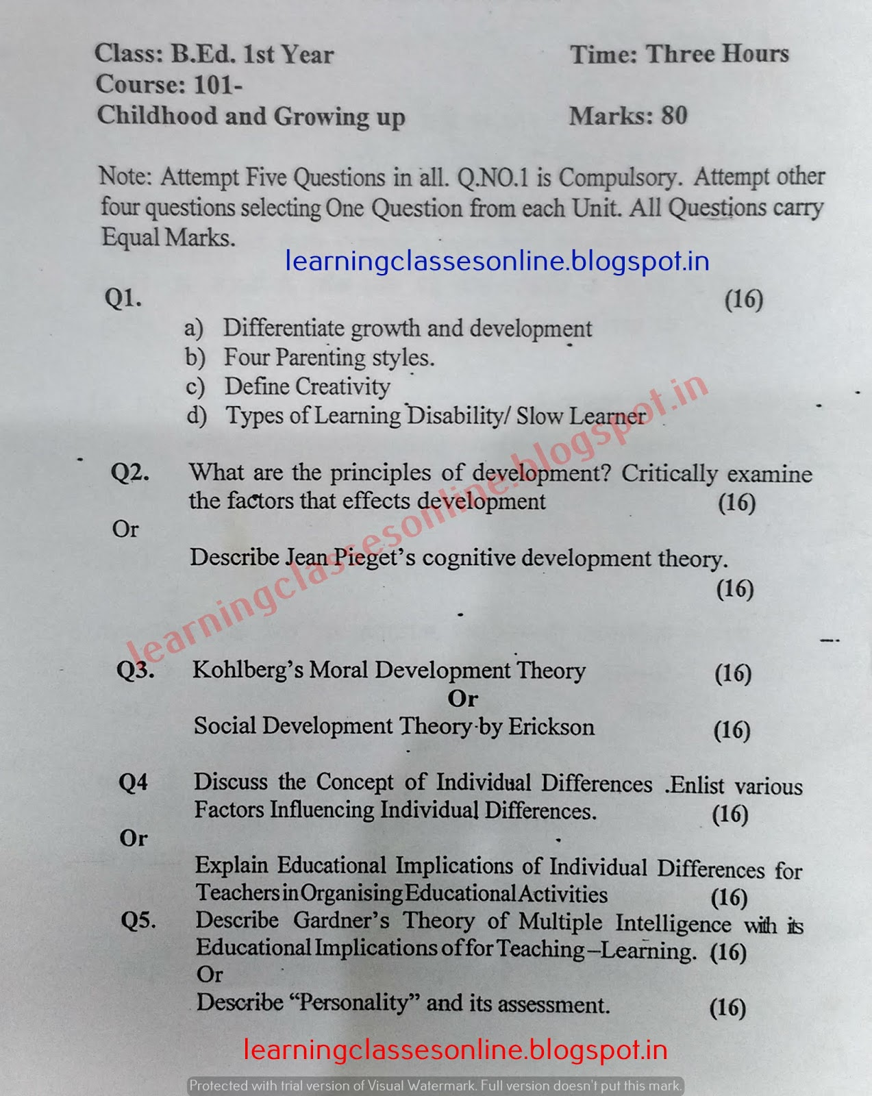 Childhood and Growing up Model Test Sample Question Paper