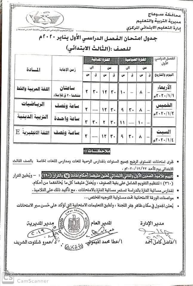 جدول امتحانات الصف الثالث الأبتدائي 2020 محافظة سوهاج