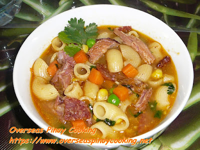 Pinoy Ham Bone Macaroni Soup Recipe