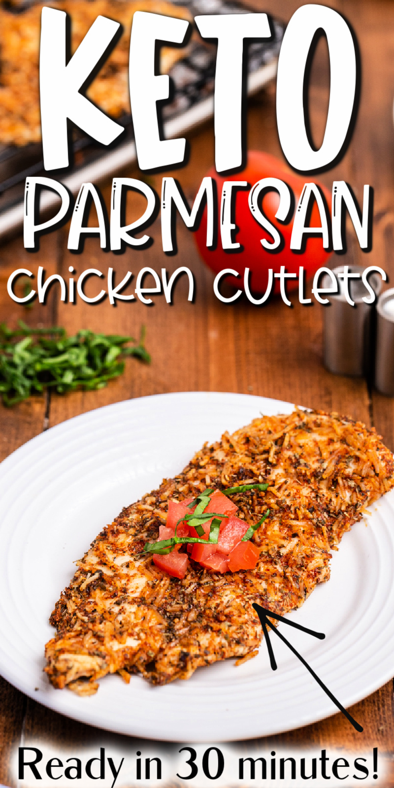 Keto Parmesan Crusted Chicken Cutlets - Chicken cutlets coated in seasoned Parmesan and baked in the oven. They are so tender and full of flavor the whole family will be requesting them over and over. #keto #lowcarb #glutenfree #chicken #parmesan #breast #cutlets #30minutes #easy #baked #recipe