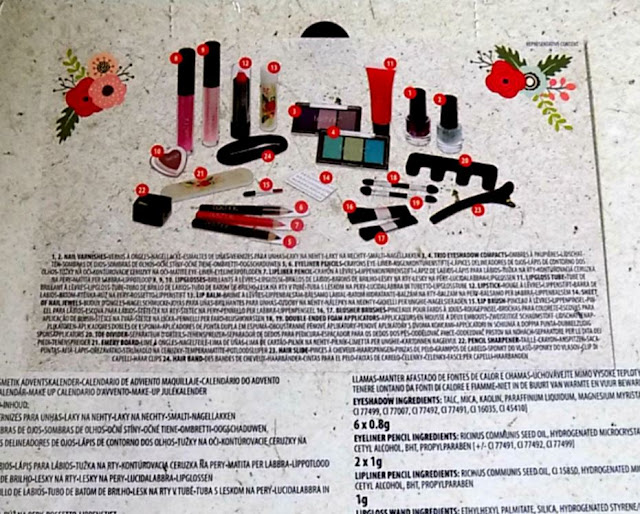 Reverse of the Technic Cosmetic Advent Calendar packaging shows its contents