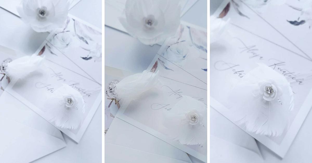 stroik ślubny z piórami