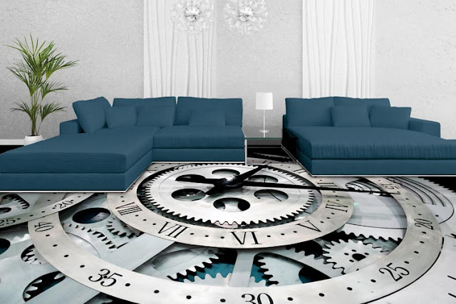 Beautiful compass themed 3d floor designs for living room