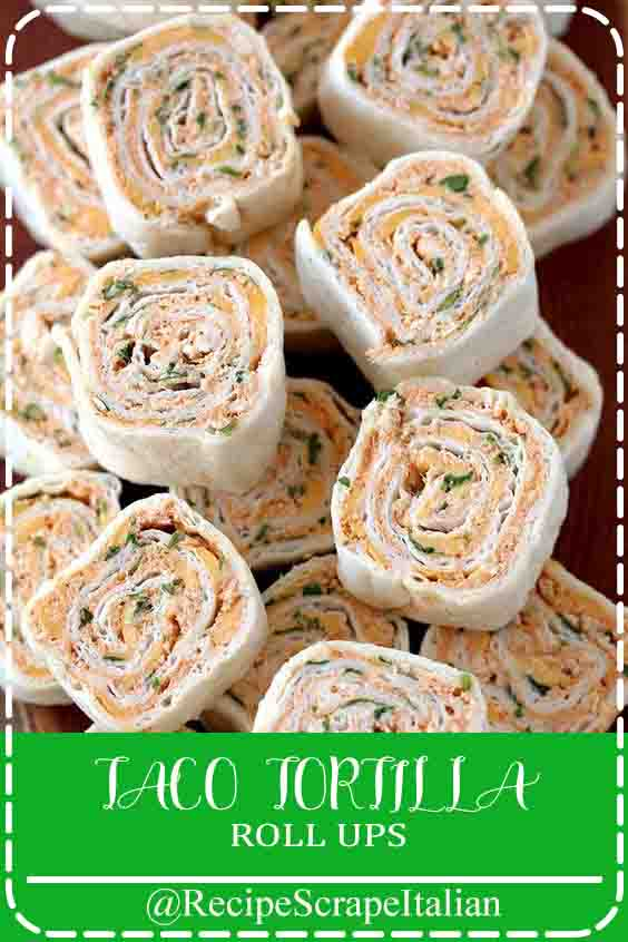 Taco Tortilla Roll Ups-this quick and straightforward party appetizer crammed with cheese, soured cream, chicken, cheddar, taco seasoning, condiment and parsley is ideal for each holiday or a celebration.    These bite – sized Tortilla Roll Ups melt in your mouth and their hot flavor are going to be great for all Mexican cuisine fans. i prefer quick and straightforward recipes, especially appetizers. I often prepare Taco Tortilla Roll Ups and that i know that everybody likes them. they will be prepared each day earlier and kept refrigerated until serving. Easy, easy, easy… Tasty. TACO TORTILLA ROLL UPS #appetizers #party easy