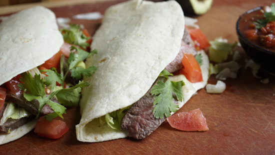 Easy beef fajitas with avocado and salsa