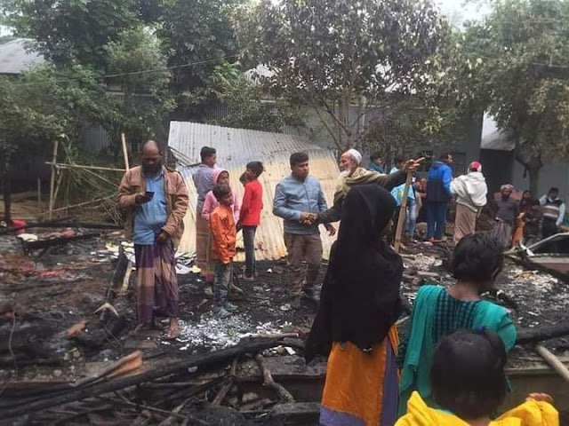 নগরকান্দায় অগ্নিকান্ডে দু'টি বসত ঘর পুড়ে ছাই