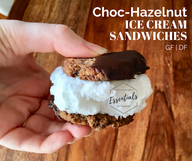 gluten free dairy free choc hazelnut ice cream sandwiches with orange essential oil - www.mywholefoodfamily.com