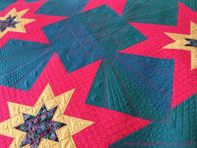 Detail - Verna's Eight-Pointed Star quilt in Oakshott Fabrics.  Custom quilted by Frances Meredith, Fabadashry Longarm Quilting