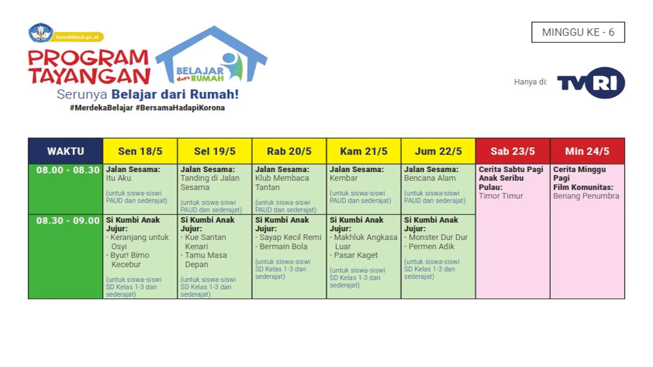 Jadwal Materi Belajar dari Rumah TVRI Edisi Minggu Ke-6 Tanggal 18-23 Mei 2020
