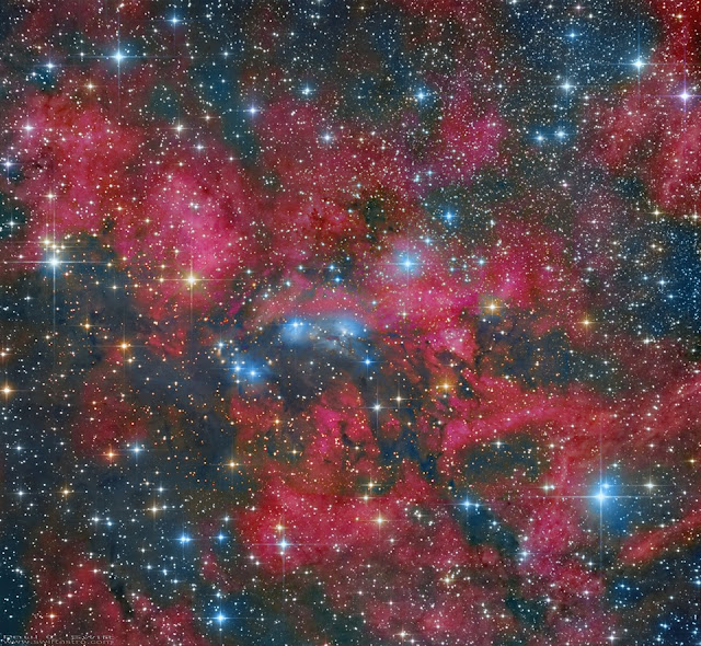 This mosaic of the reflection nebula NGC 6914 is made up of data from different focal lengths. 380mm, 1330, 1525mm, and 3400mm. Image processed by Paul C. Swift.
