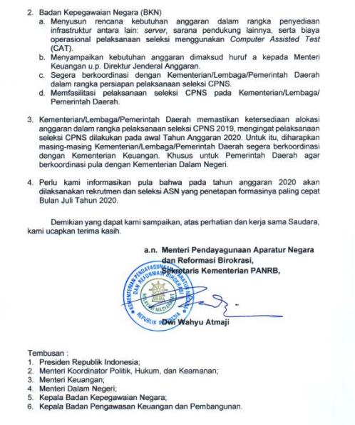 Jadwal Pendaftaran CPNS Tahun 2019 – 2020