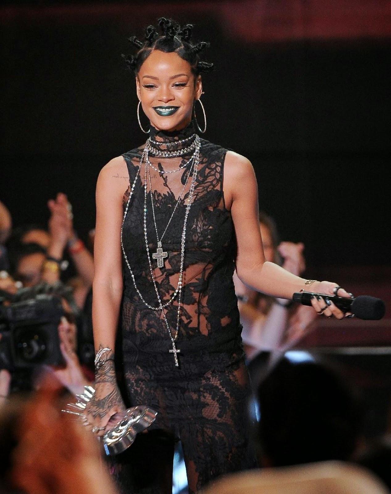 Rihanna Flaunts A Sheer Lace Givenchy Dress At The 2014