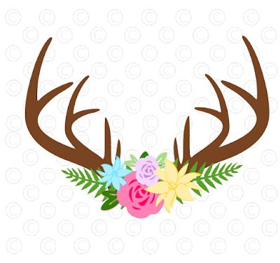 Floral rose deer antler svg cut files. Free svg files.