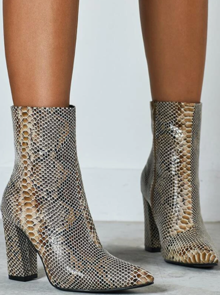 Beige and Brown snakeskin ankle boots