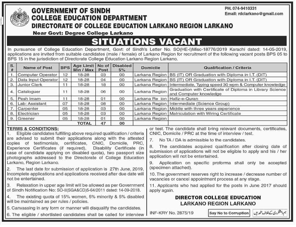 College Education Department Larkana Region Jobs 2019 Latest