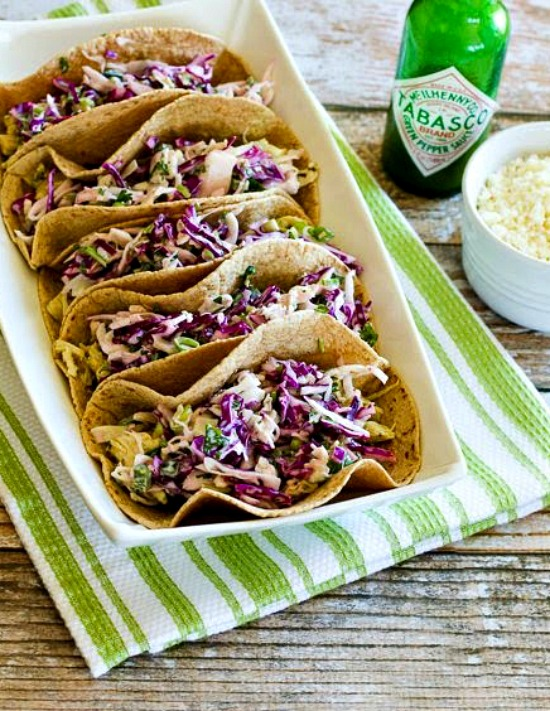 Low-Carb Slow Cooker Green Chile Chicken Tacos with Poblano-Cabbage Slaw found on KalynsKitchen.com