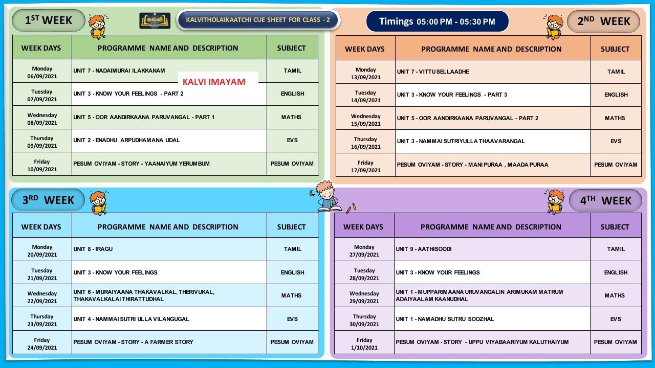2ND Standard  September Month Kalvi TV Time Table