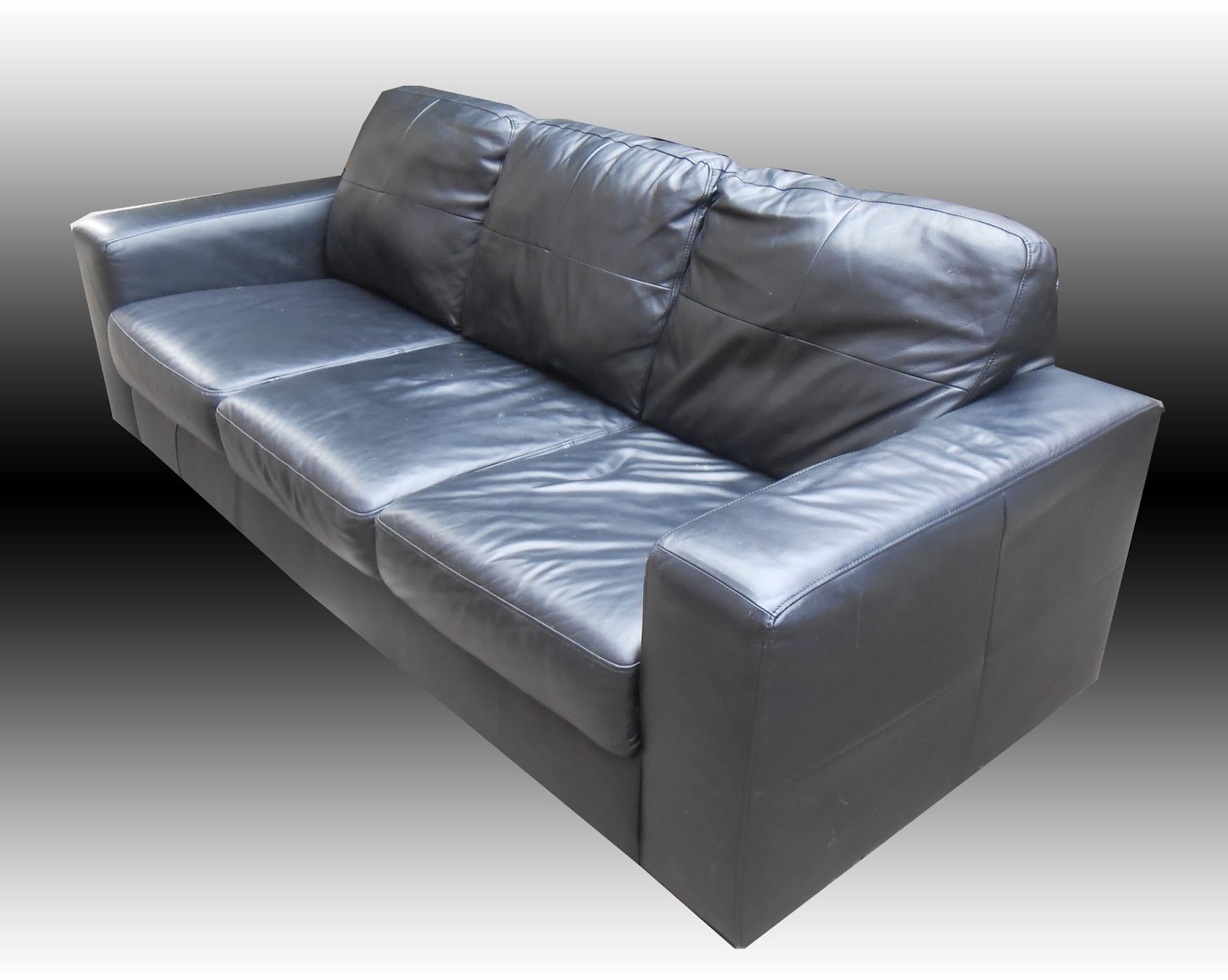 Uhuru Furniture  Collectibles IKEA Black Leather Sofa SOLD