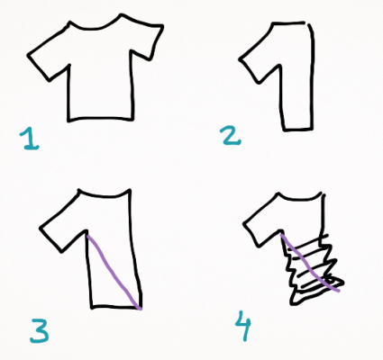 Instructions on how to create a tie dye shirt (v-shape)