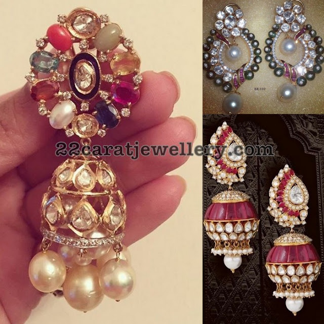Jhumkas in Diamonds and Invisible Rubies