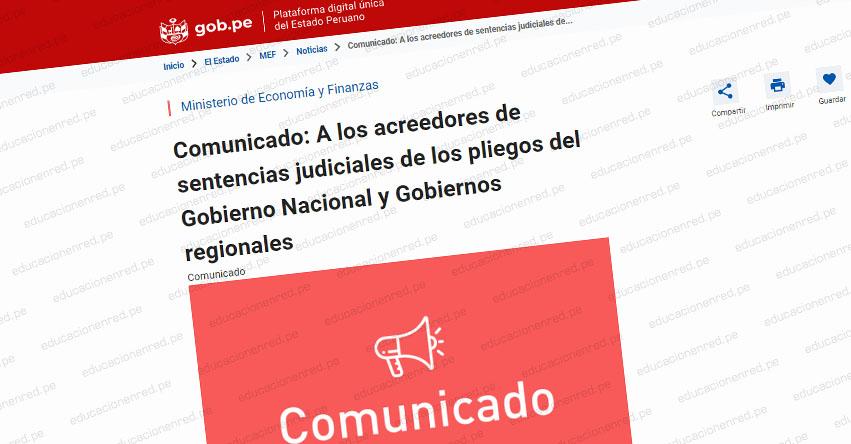 MEF: Comunicado a los acreedores de sentencias judiciales de los pliegos del Gobierno Nacional y Gobiernos regionales [DEUDA SOCIAL]