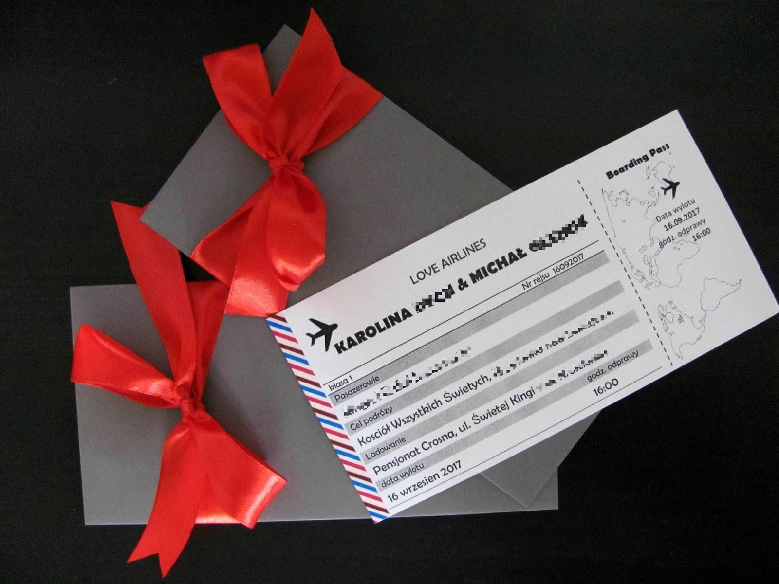 Komoda Pomysłów Zaproszenia Na ślub Bilet Lotniczy